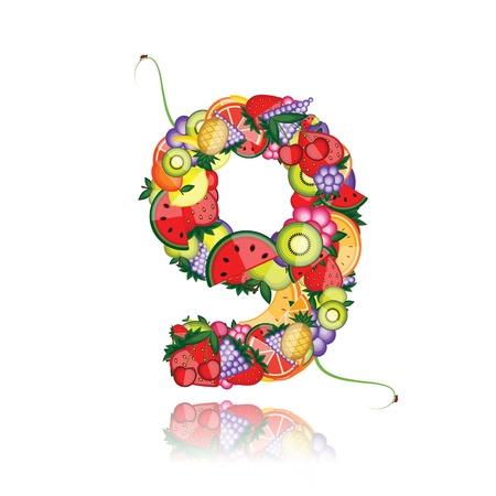 Número nueve de frutas. Ver a otros en mi Galería