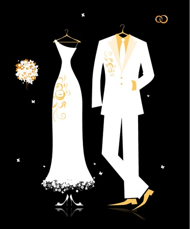 Wedding groom suit and brides dress white on black for your design Illustration