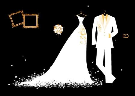 Traje de novios de boda y blanco vestido de novia en negro para el dise�o Foto de archivo - 10286442