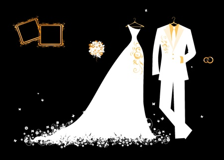 Wedding groom suit and brides dress white on black for your design Çizim