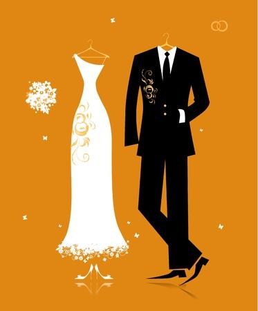 dress coat: Vestito di nozze sposo e abito da sposa per il vostro disegno Vettoriali