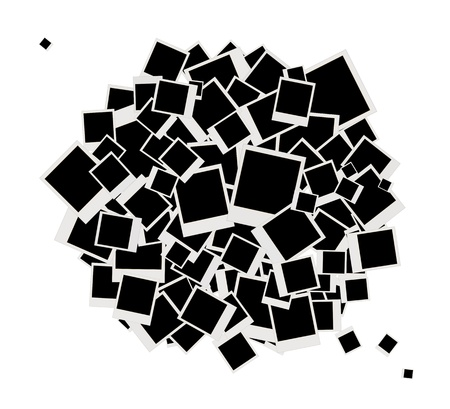 stapel papieren: Stapel van foto's, plaatst u de foto's in frames