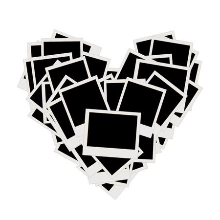 photo album page: Mont�n de fotos, en forma de coraz�n, insertar fotograf�as en marcos  Vectores
