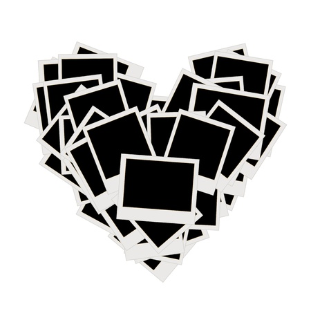 wedding photo album: Pile of photos, heart shape, insert your pictures into frames  Illustration