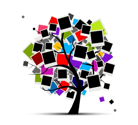 collage art: Memories tree with photo frames for your design, insert your picture