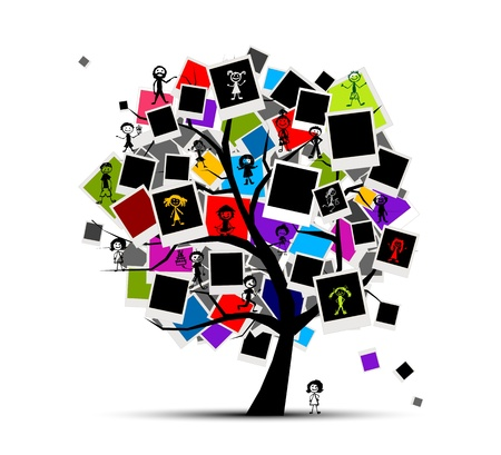 black family smiling: Memories tree with photo frames for your design, insert your picture