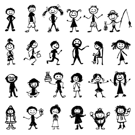 happy young people: Set of 24 drawing people