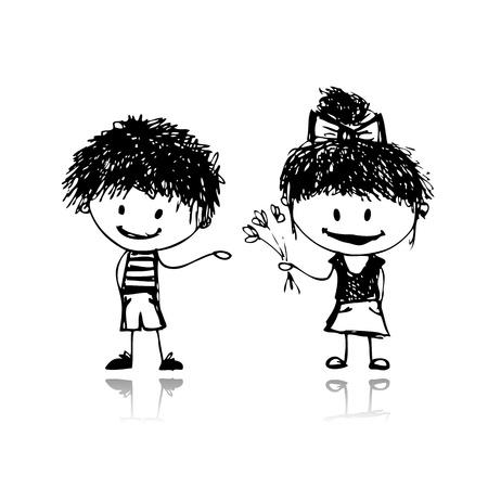 bocetos de personas: Ni�o y ni�a, boceto para el dise�o