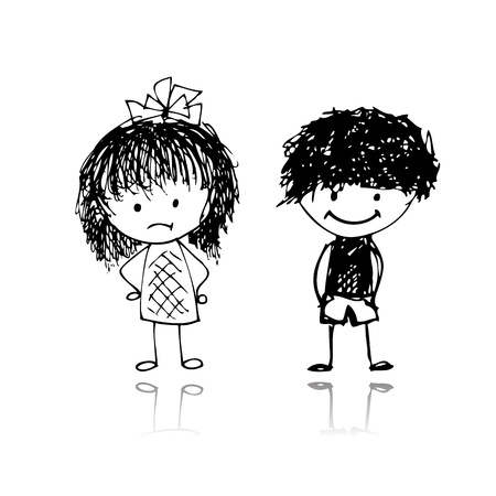 teenagers laughing: Boy and girl, sketch for your design Illustration