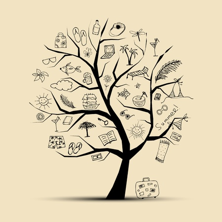 sandal tree: Summer holiday, concept tree for your design