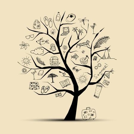 clave sol: Vacaciones de verano, árbol de concepto para el diseño