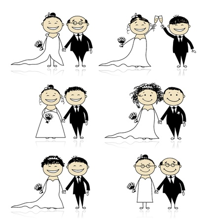 Wedding ceremony - bride and groom together for your design  Stock Vector - 10291513