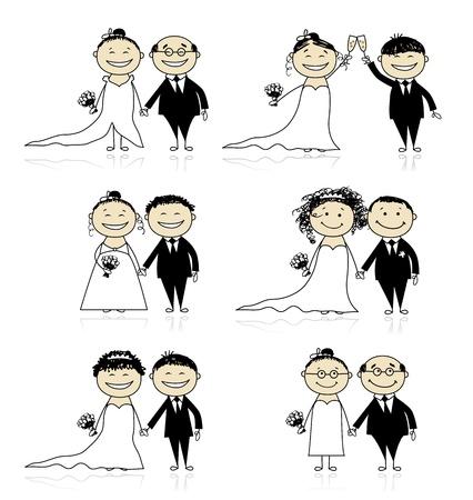 Huwelijksceremonie - bruid en bruidegom elkaar voor uw ontwerp