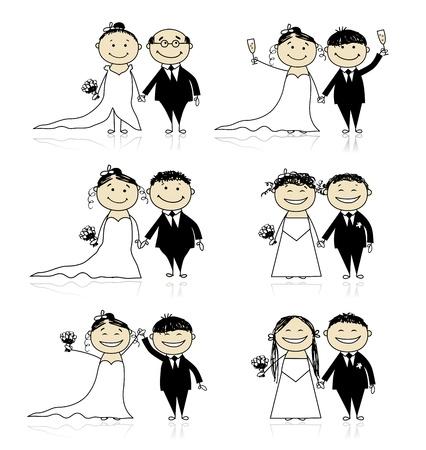 Huwelijksceremonie - bruid en bruidegom bij elkaar voor uw ontwerp