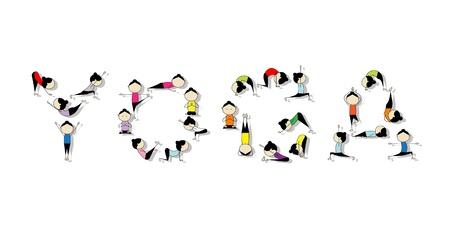 animal practice: Pr�ctica de yoga, concepto para el dise�o Vectores