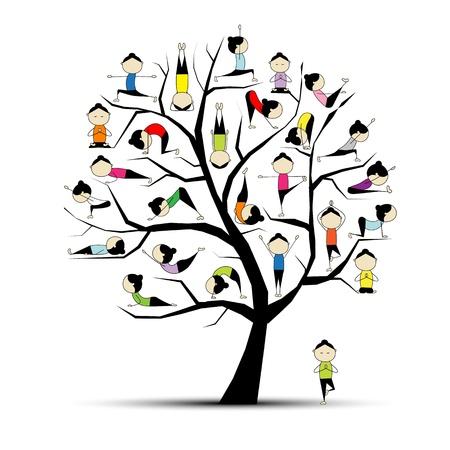 практика: Практика йоги, дерево концепцию для вашего дизайна