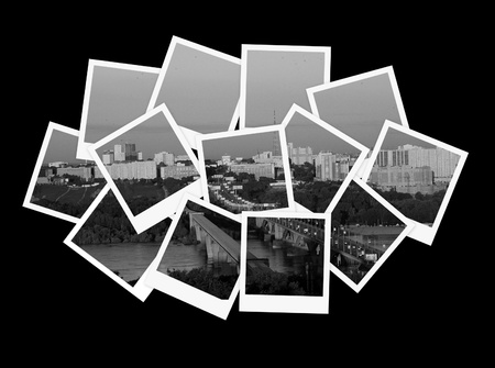 photo album background: Cityscape, collage of photos for your design Stock Photo