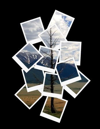 vintage photo border: Landscape, collage of photos for your design