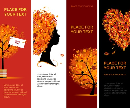 rowan tree: Autumn banners vertical for your design Illustration