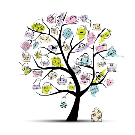 Boodschappentassen op boom voor uw ontwerp Vector Illustratie