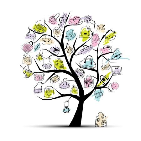 Sacs à provisions sur l'arbre pour votre design Vecteurs