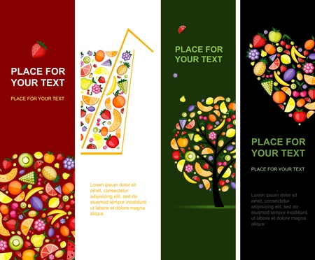 pineapple juice: Fruits banners vertical for your design Illustration