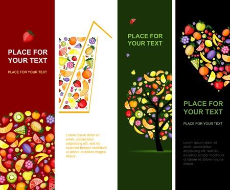 piramide alimenticia: Verticales para el diseño de banners de frutas