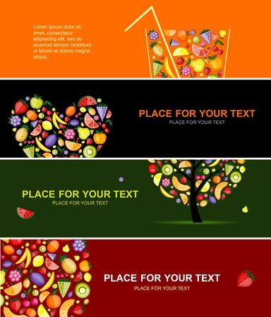 verre de jus d orange: Bannières de fruits horizontales pour votre conception Illustration