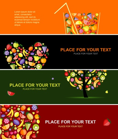 fresh juice: Fruits banners horizontal for your design