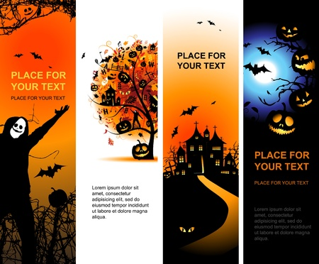 Halloween banners vertical for your design Vector