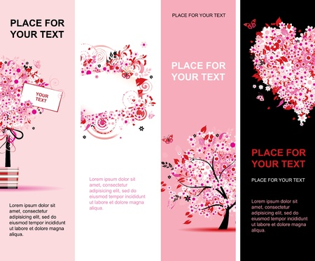 pink butterfly: Summer floral pink banners vertical for your design Illustration