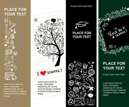 fondo de graduacion: Pancartas de la escuela de dise�o con lugar para el texto