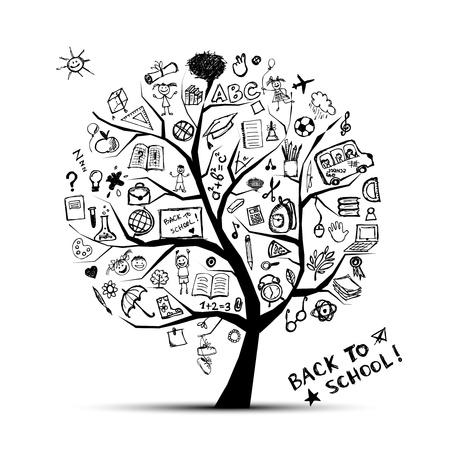 onderwijs: Boom der kennis, concept van school voor uw ontwerp