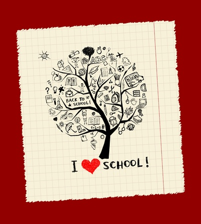 Tree of knowledge, concept of school for your design Vector
