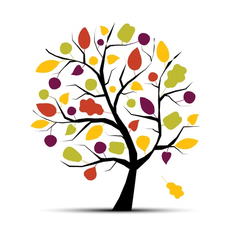 tree in autumn: Art tree beautiful for your design  Illustration