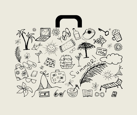 sketch book: Summer holiday, suitcase for your design  Illustration