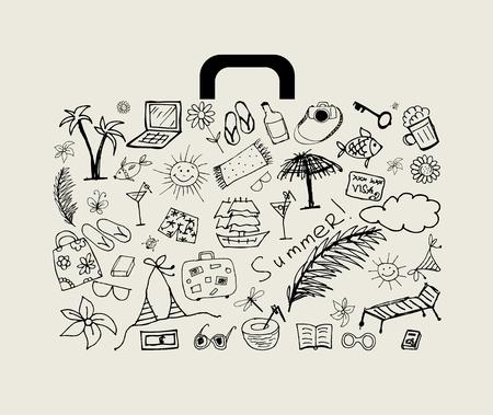 llave de sol: Vacaciones de verano, maleta para el diseño  Vectores