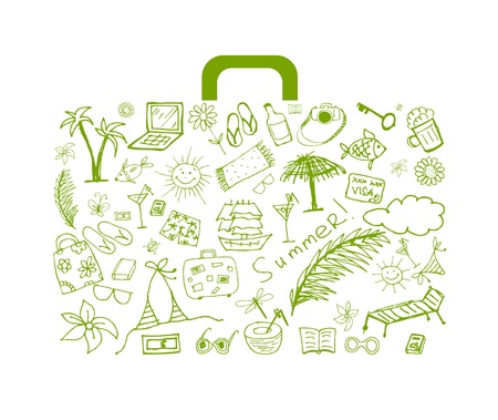 Summer holiday, suitcase for your design  Vector