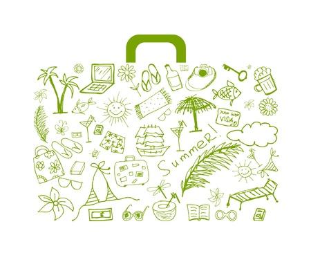 sandal tree: Vacaciones de verano, maleta para el dise�o  Vectores