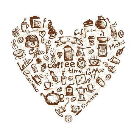 chicchi di caff�: Tempo di caff�, a forma di cuore per il vostro disegno