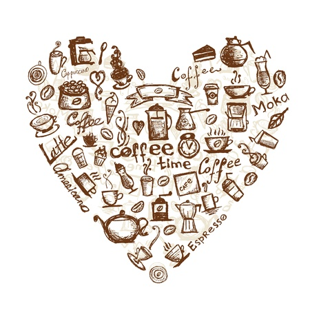 granos de cafe: Tiempo caf�, en forma de coraz�n para su dise�o