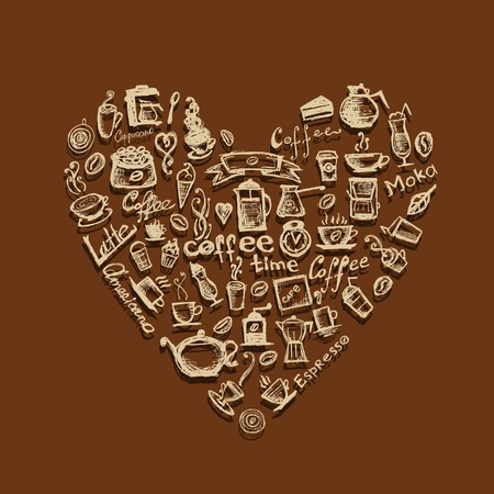 Coffee time, heart shape for your design Vector
