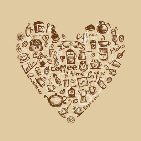 espresso machine: Coffee time, heart shape for your design