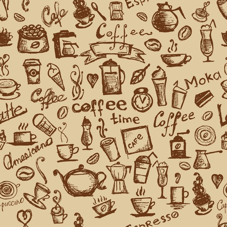Coffee time, seamless background for your design Stock Vector - 10407420