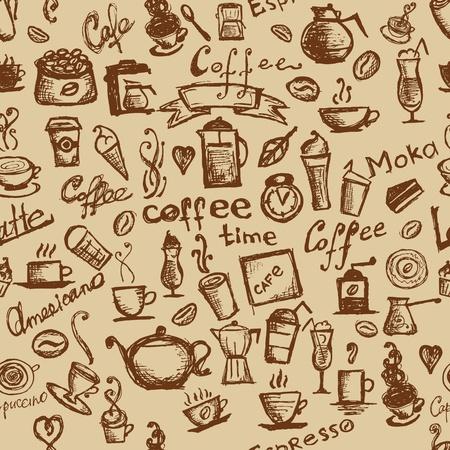 koffiebaal: Koffie tijd, naadloze achtergrond voor uw ontwerp