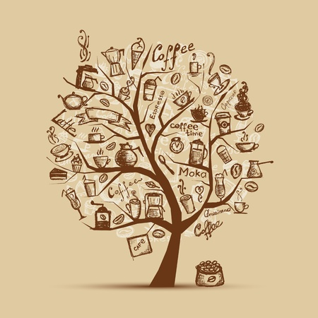 Cofee time. Art tree for your design Vector