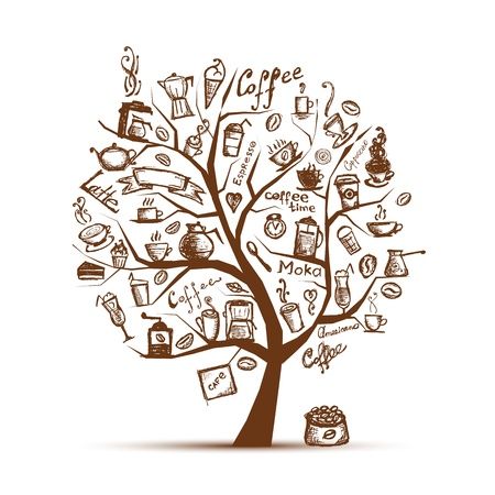 koffiebaal: Cofee tijd. Art boom voor uw ontwerp Stock Illustratie