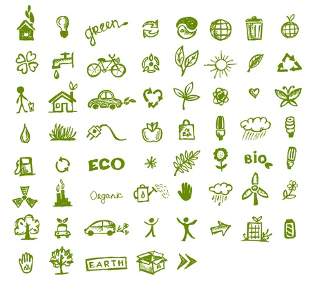 eco icons: Green ecology icons for your design