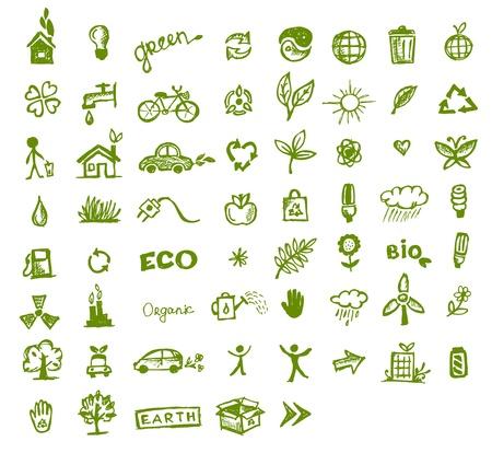 Icone ecologia verde per la progettazione
