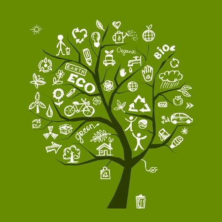 energy conservation: Green ecology tree concept for your design